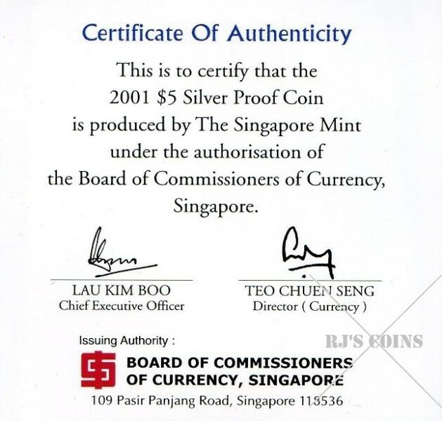 Singapore 2001 $5 Sterling Silver Proof Coin commemorating 20 years of the Productivity Movement