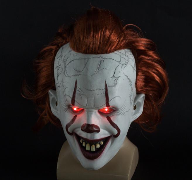 Latex Horror LED Maske Halloween Pennywise Cosplay Clown Fasching Kostüme