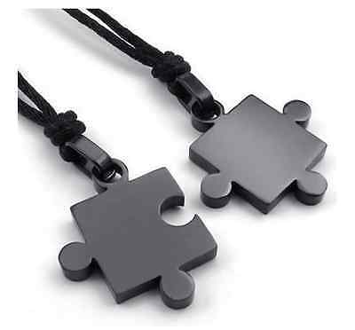 His and Hers Stainless Steel Matching Love Puzzle Couple Pendant Necklaces Black