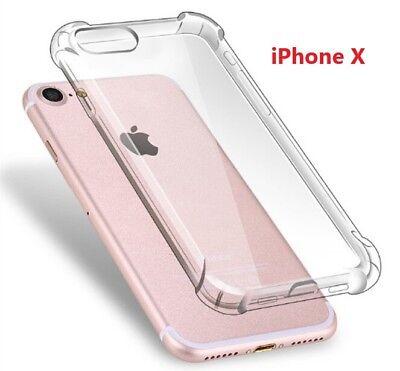 iPhone X Clear Case Silicon Transparent Slim bumper cover corner Gel TPU LOT
