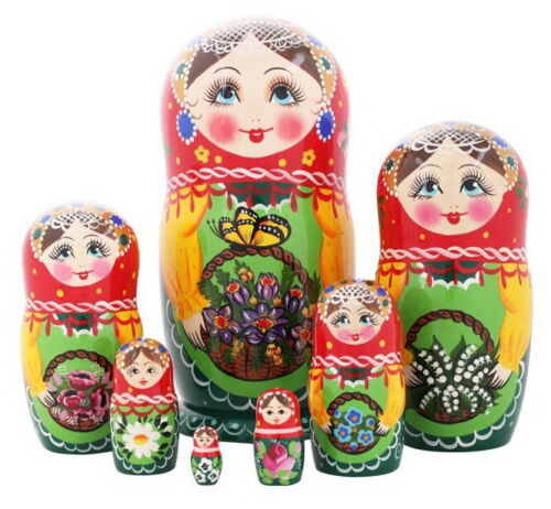 Matryoshka Russian Traditional 7pcs | with flowers |Hand painted | Nesting Doll
