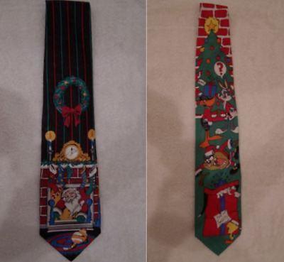 2 CHRISTMAS NECKTIES (Santa in Chimey, Wreath - SILK) (Looney Tunes - POLYESTER)