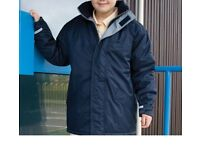 ALMOST NEW …. extra warm BOYS/GIRLS WATERPROOF -WINDPROOF - PARKER - 10/12 YRS NAVY