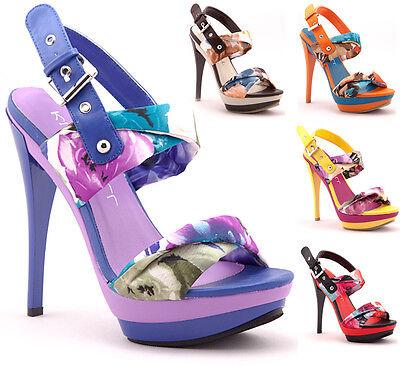 Floral Print Ankle Strap Open Toe High Heel Platform Dress Sandal Lillian-01