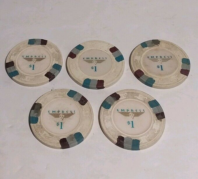 Empress Casino $1 Poker Chips Set Of 5
