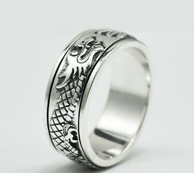 dragon men's  solid  925 Sterling Silver SPINNER  ring rings jewelry Retro S470