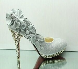 Sexy Flowers Wedding Party Shoes Glitter Diamantes High Heel platform Pumps Shoe