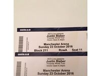 2 Justin Bieber Tickets £200 for both 23/10/2016 Manchester