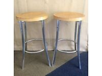 Pair of chrome and wood bar stools £10 the pair
