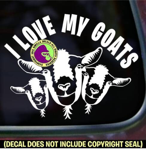 I LOVE MY GOATS Vinyl Decal Sticker Goat Farm Crazy Breed Car Window Bumper Sign