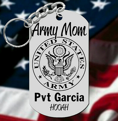 Army MOM Keychain Gift, Personalized FREE with Name and Rank HOOAH