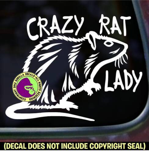 CRAZY RAT LADY Vinyl Decal Sticker Pet Love Rodent Car Window Wall Laptop Sign