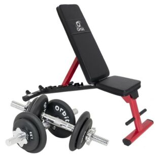 Weight training bench with free adjustable dumbells