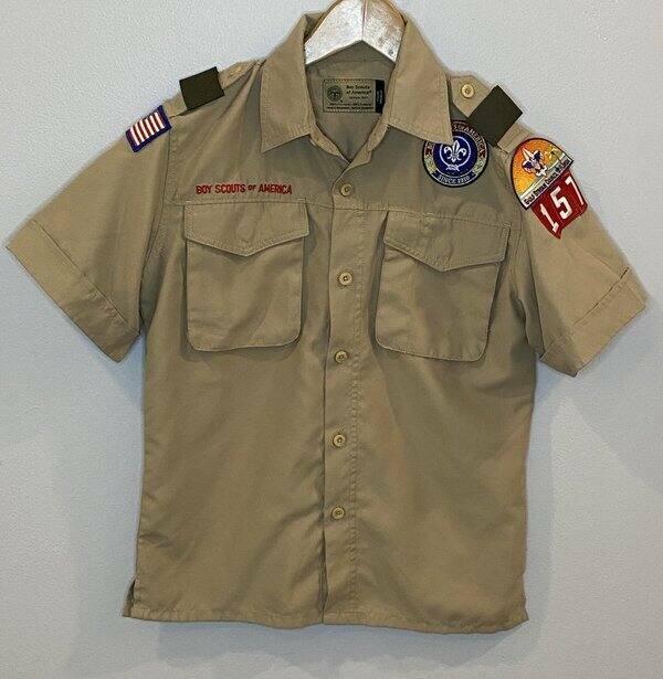 BSA Boy Scouts America Youth Medium Tan Uniform Shirt Vented Polyester Ex Cond