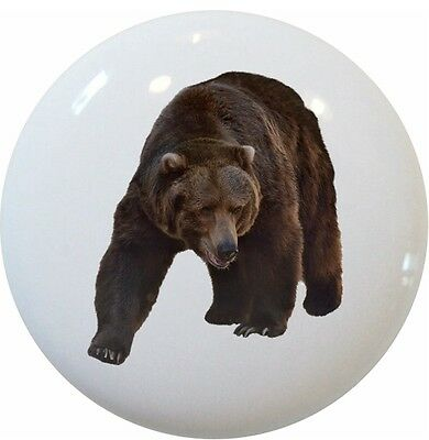 - Grizzly Bear Animal Cabinet DRAWER Pull KNOB Ceramic