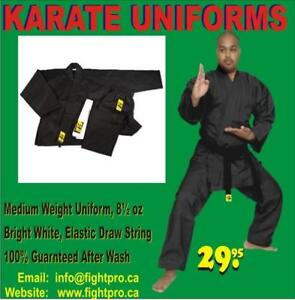 KARATE UNIFORM, MEDIUM WEIGHT,WITH BELT. 60%OFF SPECIAL DISCOUNT FOR MARTIAL ARTS CLUBS (9050 364`04400 WWW.FIGHTPRO,CA