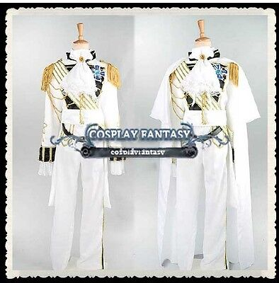 Rose of Versailles Cosplay Lady Oscar Costume Military Uniform Vintage White (Oscar Costume)