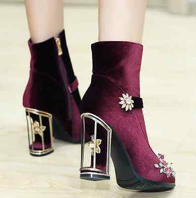 Womens Chunky High Heel Side Zip Ankle Boots Rhinestone Floral Mesh Suede Shoes