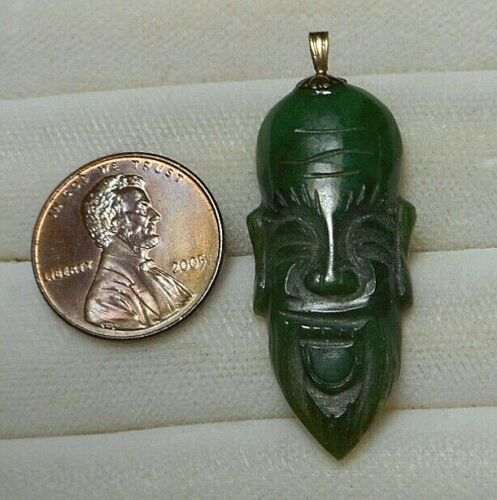 Vintage Chinese Pendant - Carved Green Stone Jade? Head of Bearded Sage Wise Man