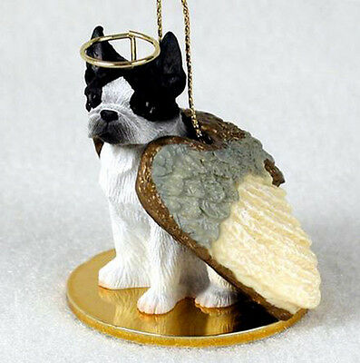 BOSTON TERRIER ANGEL DOG CHRISTMAS ORNAMENT HOLIDAY Figurine Statue