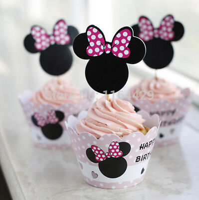 Minnie Mouse Happy Birthday Cupcake Wrappers &Toppers  Party - Set of 1 dozen (Happy Birthday Cupcake)