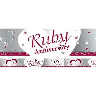 40th Ruby Wedding Anniversary Banner Party 40 Years Of Marrage 2.7m  BANN696 - Ruby Wedding Anniversary Banners