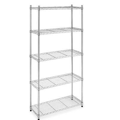 "Chrome/Black 5-Shelf Steel Wire Tier Layer Shelving 72""x36""x14"" Storage Rack 75"