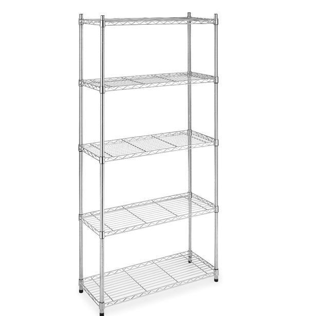 """Chrome/Black 5-Shelf Steel Wire Tier Layer Shelving 72""""x36""""x14"""" Storage Rack 75"""