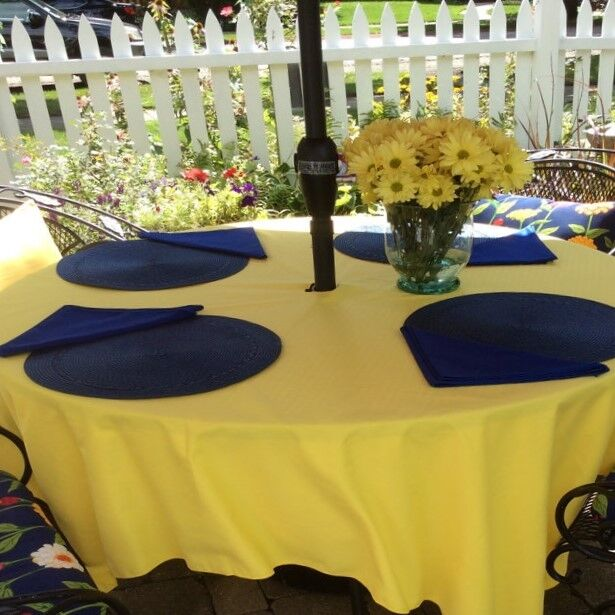 "ROUND patio tablecloth UMBRELLA STYLE 90""  easycare  fabric"