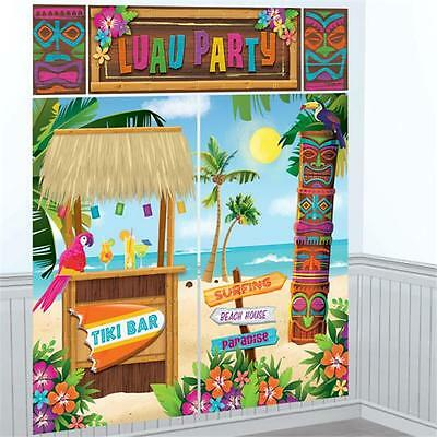 HAWAIIAN LUAU TIKI HUT WALL SCENE SETTER BEACH GARDEN PARTY KIT DECORATION