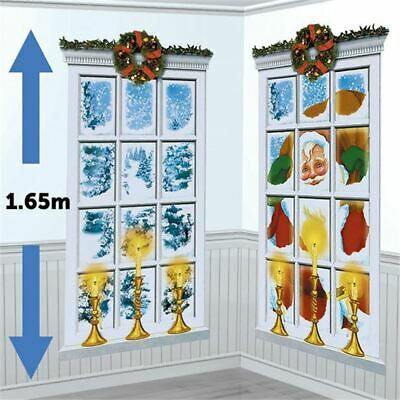 2 Magical Frosted Window Party Banner Decoration Giant Scene Setter Xmas 1.65mtr