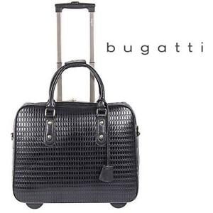 NEW BUGATTI BUSINESS CASE ON WHEELS LBZW1702 189952655 LADIES BLACK SOFT PU LUGGAGE BAG
