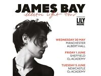 2 tickets to see James Bay in Newcastle on 5th June