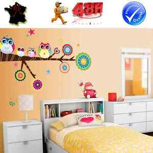 Sticker autocollant auto adhesif mural decoration hibou for Decoration adhesif mural