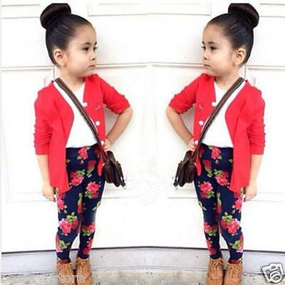 Cute Toddler Kid Girls Outfits Long Sleeve T-Shirt Tops Coat Pants Suit Clothing ()