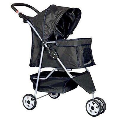 New Black Pet Stroller Cat Dog Cage 3 Wheels Stroller Travel Folding Carrier