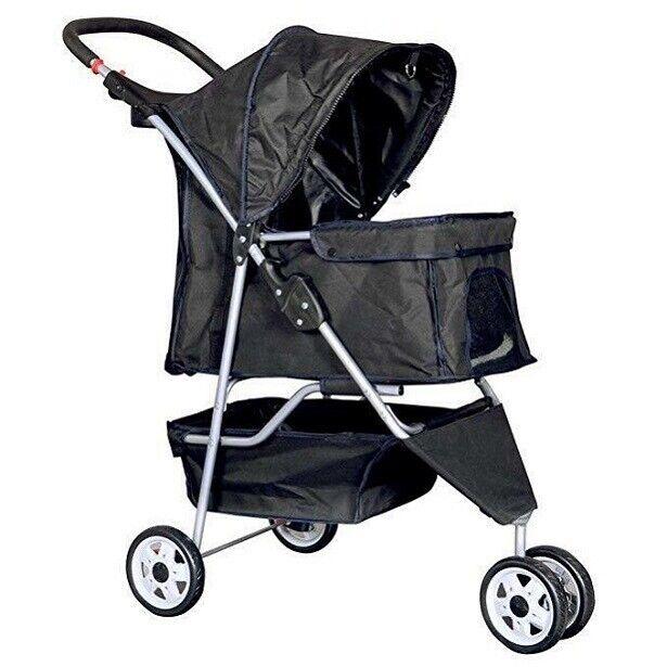 New Black Pet Stroller Cat Dog Cage 3 Wheels Stroller Travel