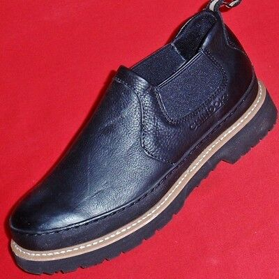 Mens Chinook Workhorse Romeo Black Leather Loafers Slip On Work Shoes Boots New