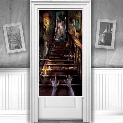 Halloween Party Haunted House Mansion StairwayWall Door Decoration