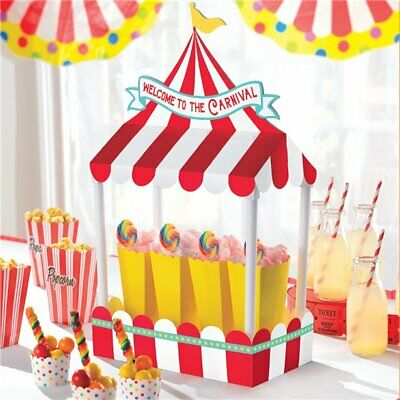 Circus Funfair Carnival Showman Party Theme Red White Table Buffet Decoration  - Carnival Party Theme