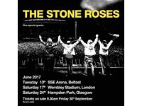 4 x The Stone Roses pitch standing tickets, Saturday 17th June 2017, Wembley Stadium London