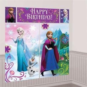 DISNEY FROZEN PRINCESS GIRLS BIRTHDAY PARTY WALL SCENE SETTER BANNER DECORATION