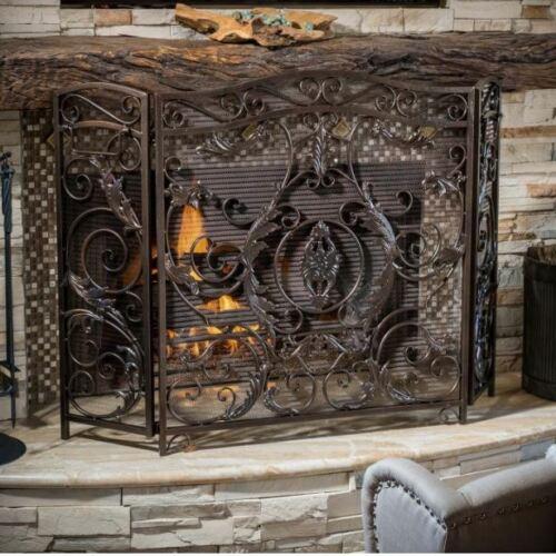 Wide Wrought Iron Fireplace Screen Bronze 3 Panel Folding Scroll Fire Guard