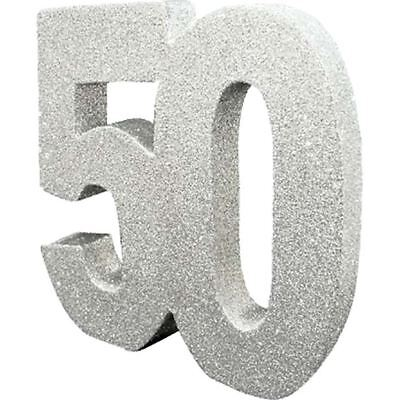50th Birthday/Anniversary Silver Glitter Table Centrepiece by CREATIVE PARTY](50th Centerpieces)