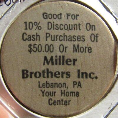 Vintage Miller Brothers Inc. Lebanon, PA Wooden Nickel - Token Pennsylvania