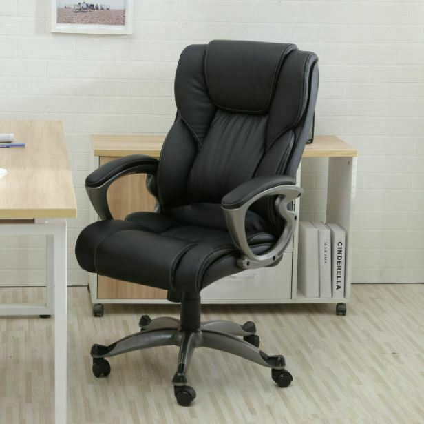 Black PU Leather High Back Office Chair Executive Task Ergon