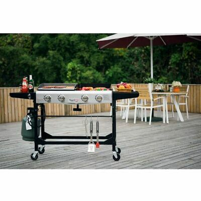 Gas Grill Griddle Combo Portable Propane BBQ Side Wheels Cast Iron Flat Top Size