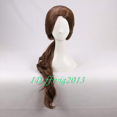 Beauty And The Beast Belle Long Wavy Brown Daily Cosplay Wig  A Wig Cap