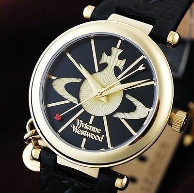 Vivienne Westwood VV006BKGD Women's ORB Pendant Logo Black Leather Fashion Watch