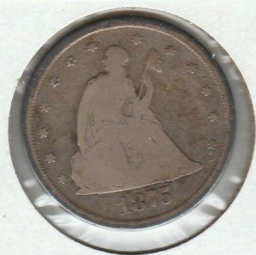 1875 CC Good G Seated Liberty US Silver Twenty Cent Piece 20C